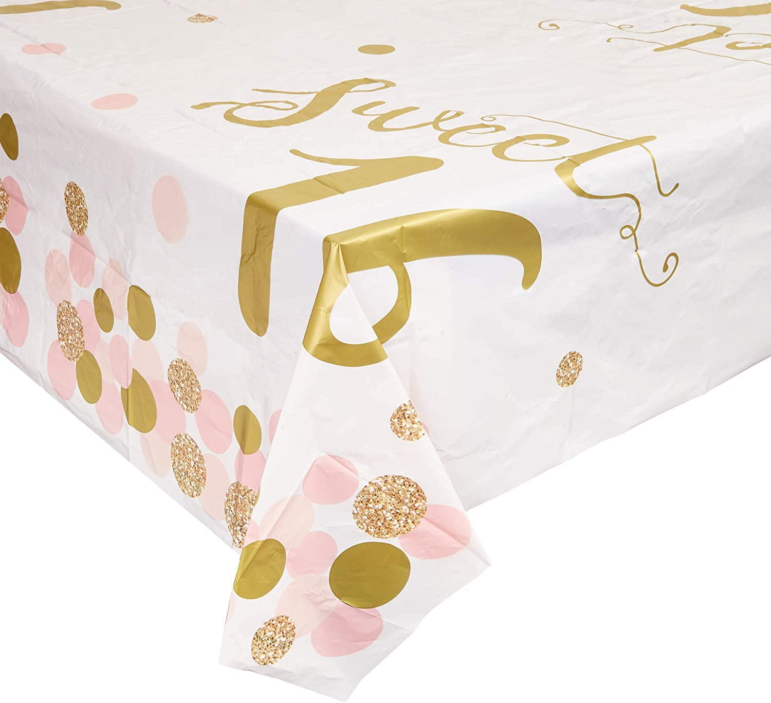 Blue Panda Sweet 16 Birthday Party Plastic Table Covers (54 x 108 in, 3 Pack)