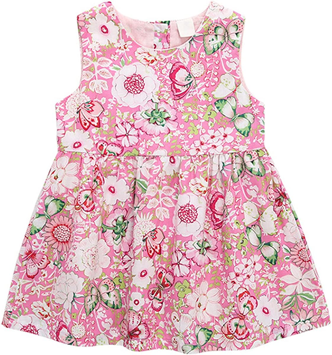Bebone Baby Girls Princess Summer Dress Flower Print Outfit Clothes with Hat