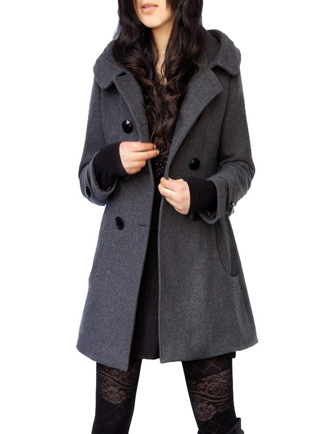 Tanming Women's Winter Double Breasted Wool Blend Long Pea Coat with Hood (X-Large, Grey)