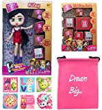 Boxy Girls Gift Bundle - (1) Riley BoxyGirls Doll with 12 Surprises + (1) Fashion Pack with 20 Surprises + (6) Shopkins Stickers with Compatible Toy Storage Bag!