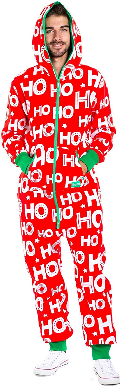 Men's Cozy Christmas Onesie Pajamas - Red HoHoHo Holiday Spirit Adult Cozy Jumpsuit