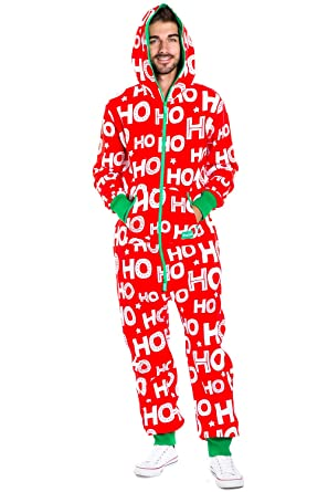 Christmas Onesie.Men S Christmas Onesie Pajamas Red Hohoho Holiday Spirit Adult Jumpsuit