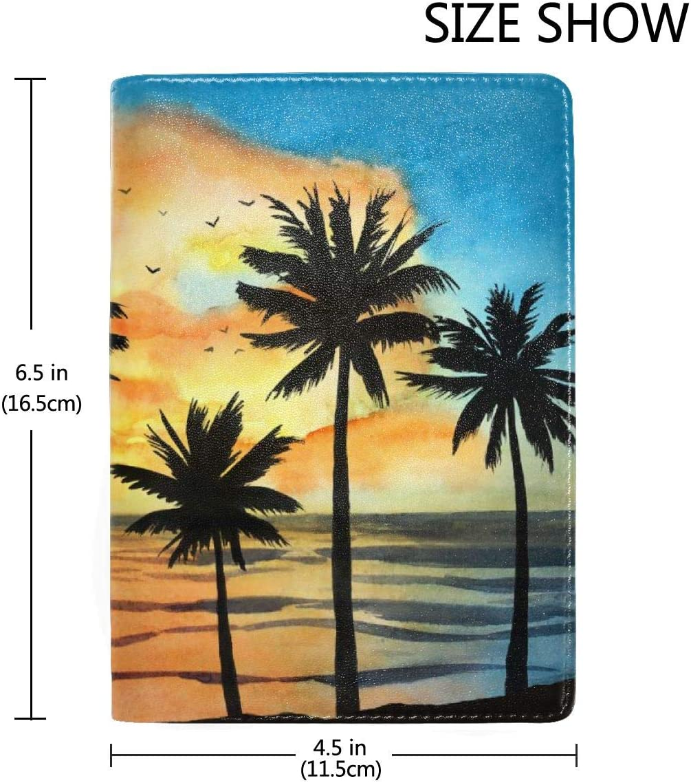 Watercolor Tropical Landscape With Ocean Fashion Leather Passport Holder Cover Case Travel Wallet 6.5 In