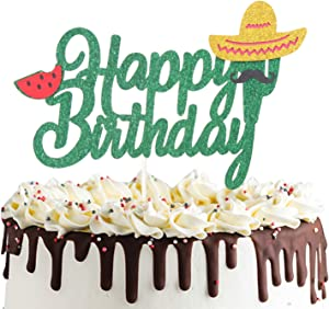 Cactus Happy Birthday Cake Topper Mexican Fiesta Cake Decoration Handmade Green Glitter Summer Theme Party Decor for Baby