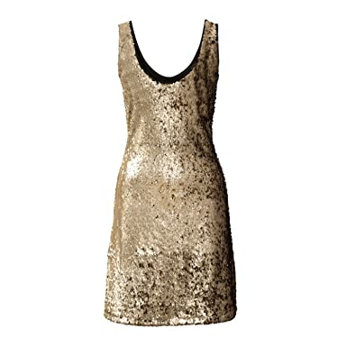 CannerCA Fashion Dress Black & Gold Dress Women Sequined Skinny Sleeveless Sheath Party /Club Bandage