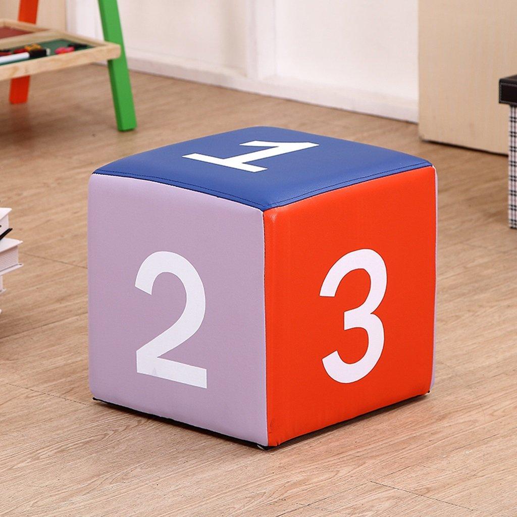 子供の漫画の手紙のスツールかわいい学習スツールデジタルソフト交換シューズ正方形のスツール31.5 * 31.5 * 31.5cm チェアベンチ (Color : B)  B B07FZ3N5MZ