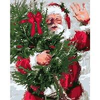 Jenor Santa Claus senza cornice DIY Paint by Numbers olio pittura moderna casa decorazione da parete