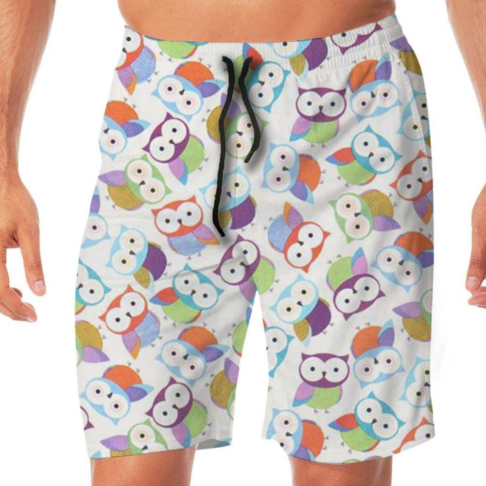 Mens Cartoon Owl Causal Beach Shorts with Elastic Waist Drawstring Lightweight Slim Fit Summer Short Pants with Pockets