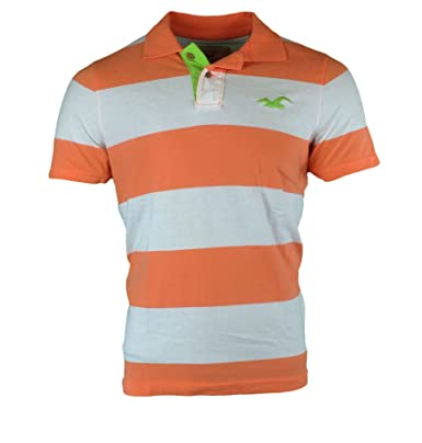 154ba7c4 Hollister Men's Striped Slim Fit Polo Shirt Tee (X-Large, ORANGE AND GREEN