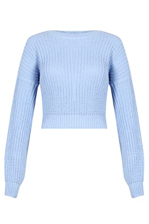 Sky Blue Pastel Blue Cropped Knitted Sweater (14): Amazon.co.uk ...