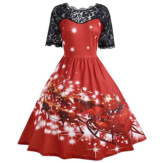 Kimitsu-Science Women Christmas Lace Father Midi Party Dress Ladies Autumn Vintage Insert Dress Woman