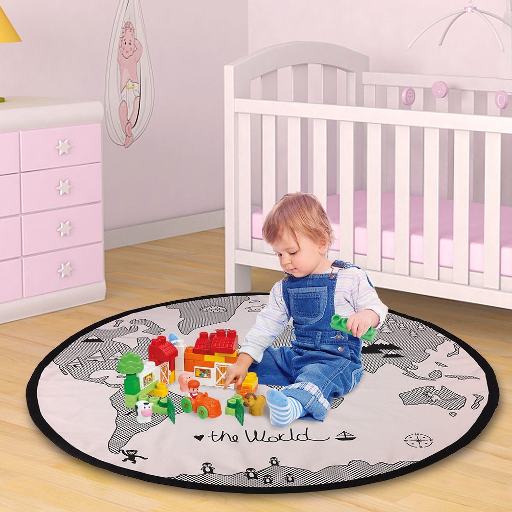 135cm Round Canvas Playing Mat World Map Floor Crawling Pad for Baby Kid