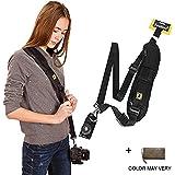 Brain Freezer FBA_FIRECAMERANECKSTRAPBLACK_011 J Universal Adjustable Rapid SLR DSLR Camera Shoulder Neck Strap Sling Belt (Black)