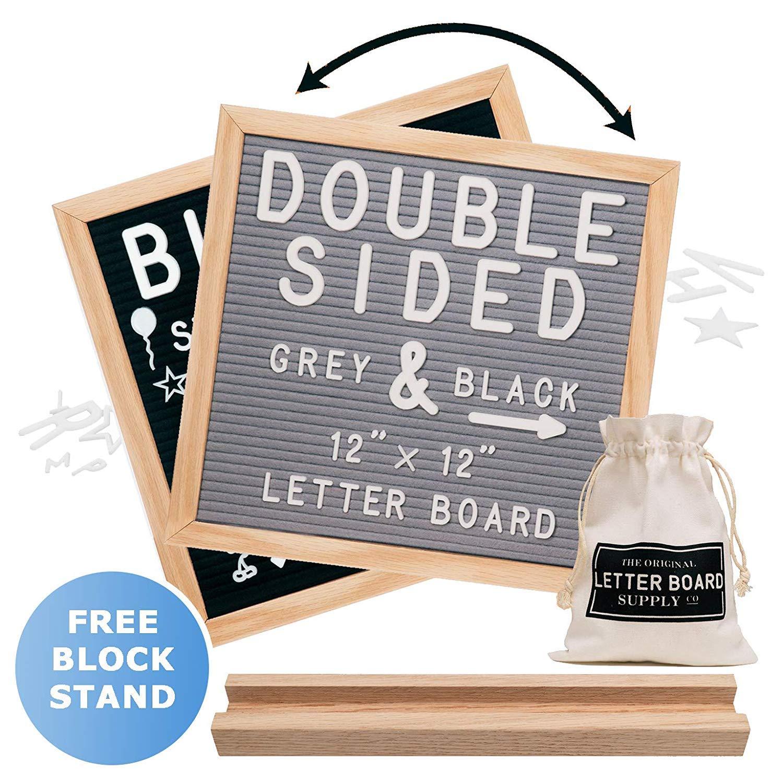 Felt Letter Board 12x12   Double Sided Letter Board - Gray & Black   Fully Clean Cut Letters, Oak Stand, Large & Small Letters. Felt Board with Clean-Cut Letters, Symbols. Letters Board