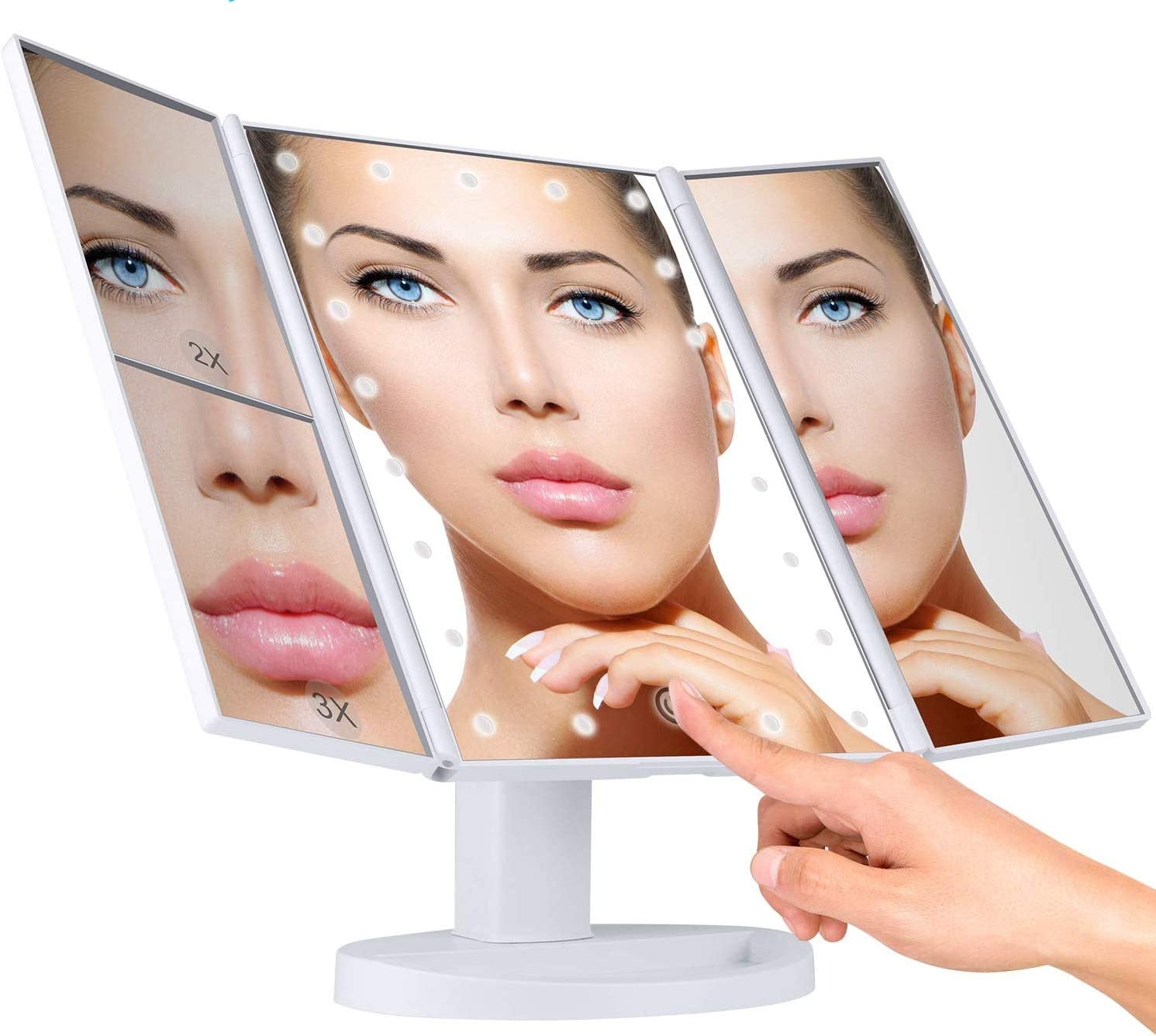 JH-BestCrafts LED Dimmable Lighted Makeup Vanity Mirror 180 Adjustable with Magnification – for Desk or countertop Cosmetic Makeup