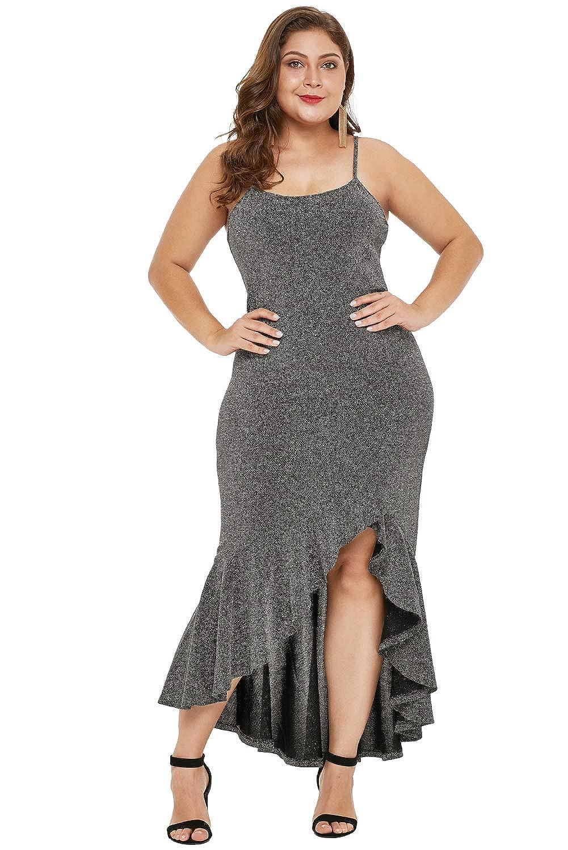 FUSENFENG Womens Sleeveless Metallic Glitter High Low Plus ...