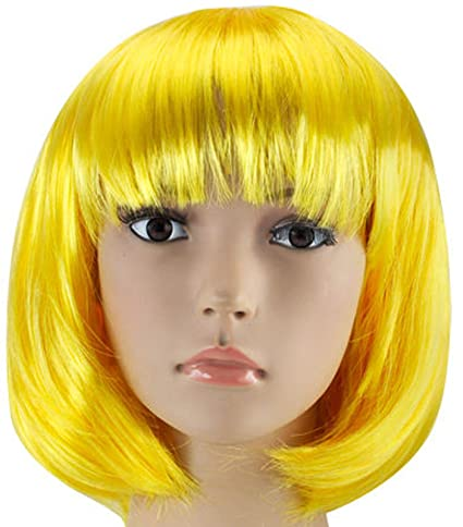 MUJERES CORTAS PELUCA BOB FANCY DRESS COSPLAY WIGS POP PARTY COSTUME (Amarillo)