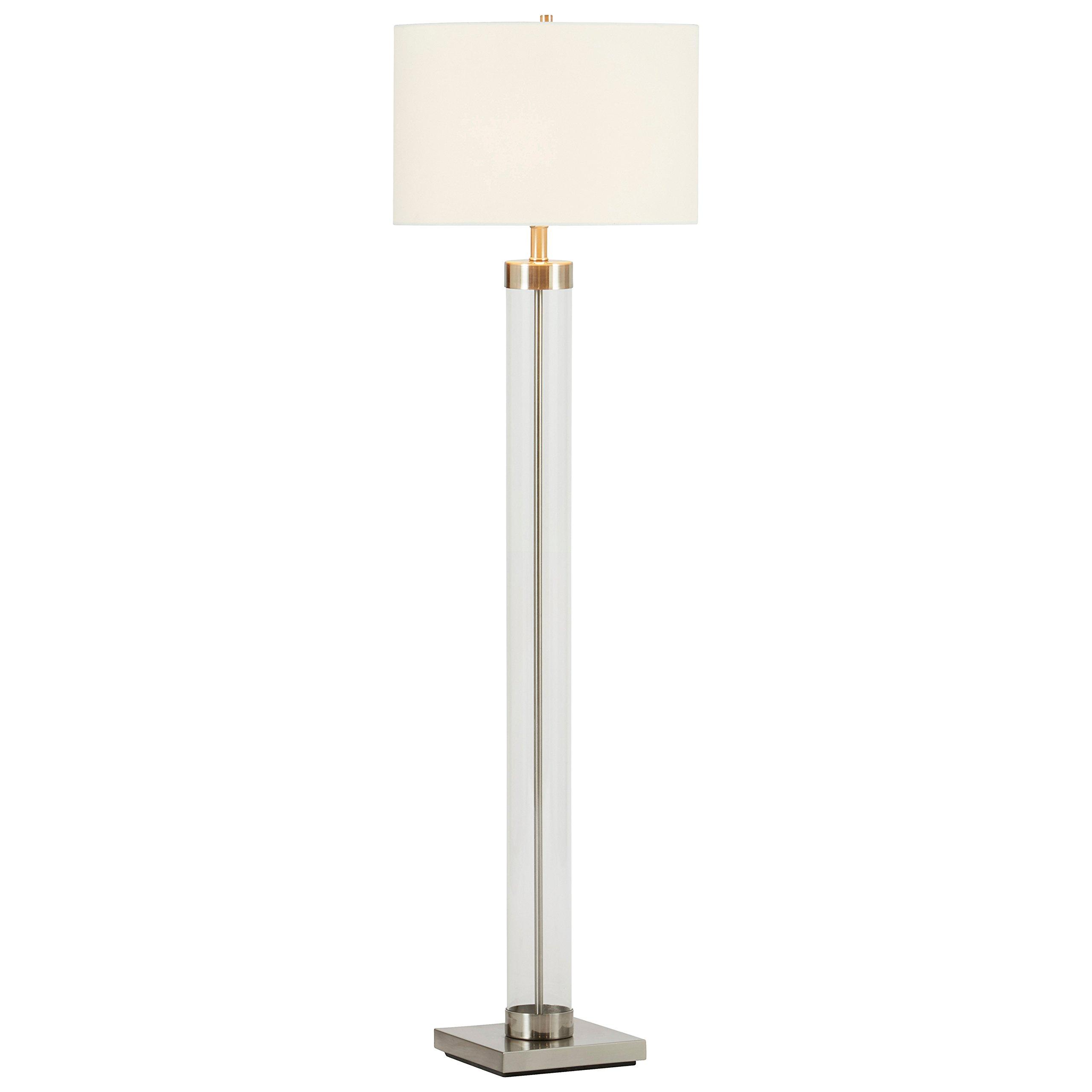 Stone & Beam Glass Column Nickel Floor Lamp, 59''H, With Bulb, White Shade