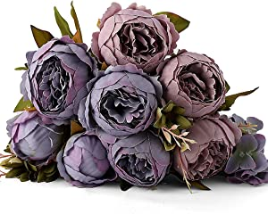 Kimura's Cabin Artificial Peonies Silk Flowers Fake Peony Bouquets Decor for Home Table Centerpieces Wedding Party Decoration (Grey Purple)