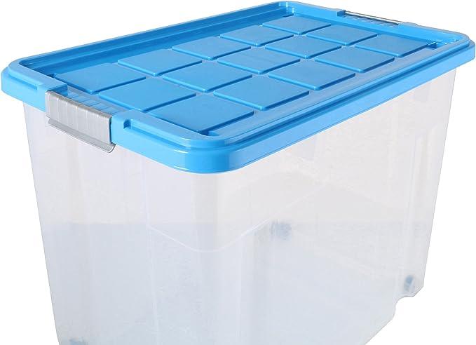 axentia Caja de almacenamiento con tapa y ruedas – capacidad 80 L – 60/40/44,5 cm - Cajonera plegable, Casilla Box de plástico para ropa, juguetes y otros accesorios: Amazon.es: Hogar