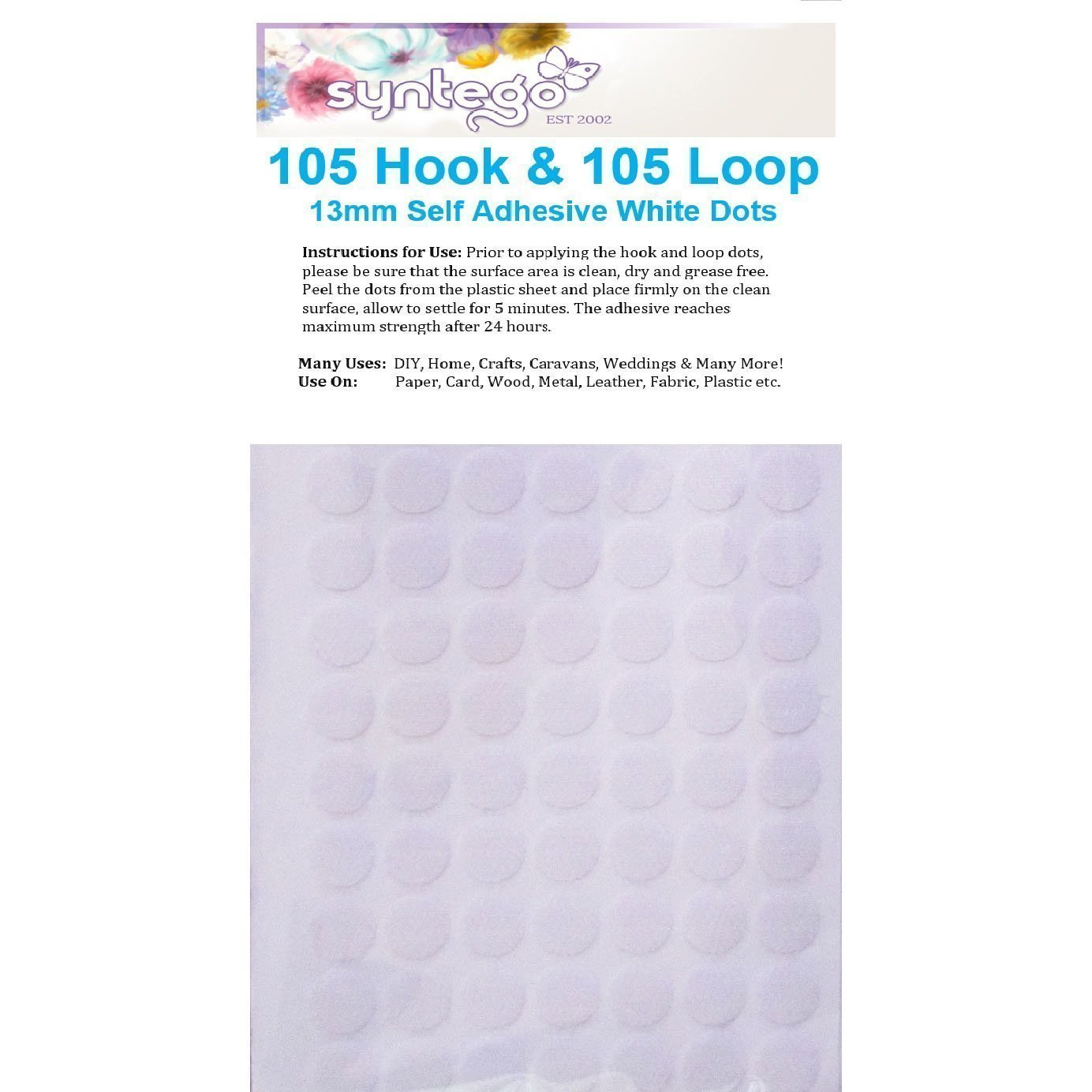 Syntego 210 Sticky Dots White 13mm Self Adhesive - 105 Hooks Plus 105 Loops