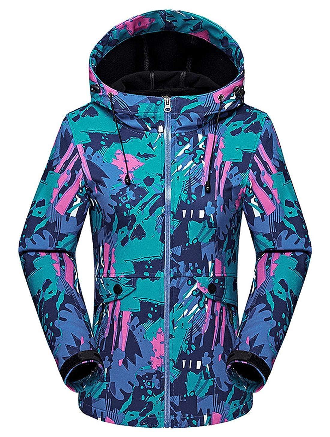 AIEOE Women's Hooded Windbreaker Sportswear Jacket Windproof Waterproof