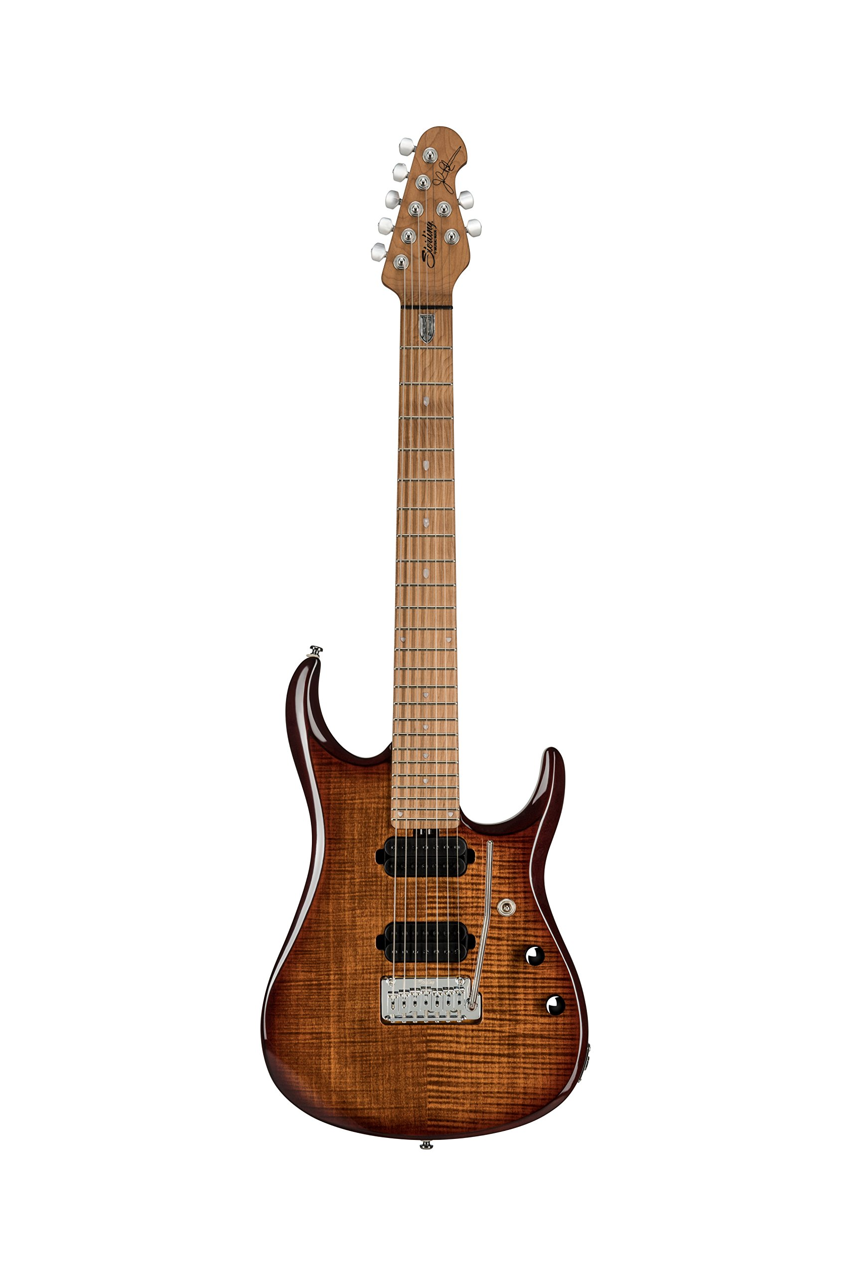Sterling by Music Man JP150 Electric Guitar with Flame Maple Top in Island Burst, 7-String