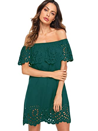 bc32fc068c5b Floerns Women s Off Shoulder Ruffle Loose Tunic Shift Dress Green XS