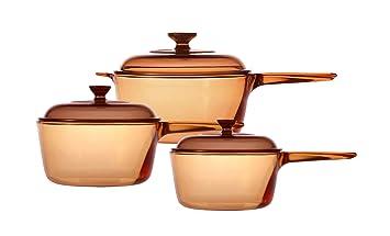 Visions - Juego de cazos de vidrio Pyroceram, 6 piezas, de 1 litro, 1,5 litros y 2,5 litros, color marrón: Amazon.es: Hogar