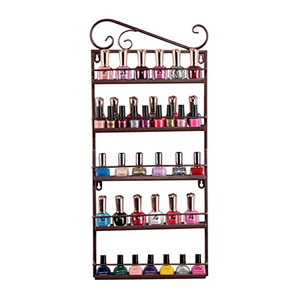 Tremendous Nail Polish Organizer Tenine Wall Monuted Oil Essential Nail Polish Rack 5 Tiers Nail Polish Shelf Display 50 Bottles Cosmetic Makeup Storage Interior Design Ideas Tzicisoteloinfo