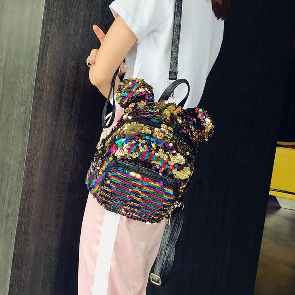 Fashion Sequins School Bag Backpack Satchel Student Travel Shoulder Bag Girl Women