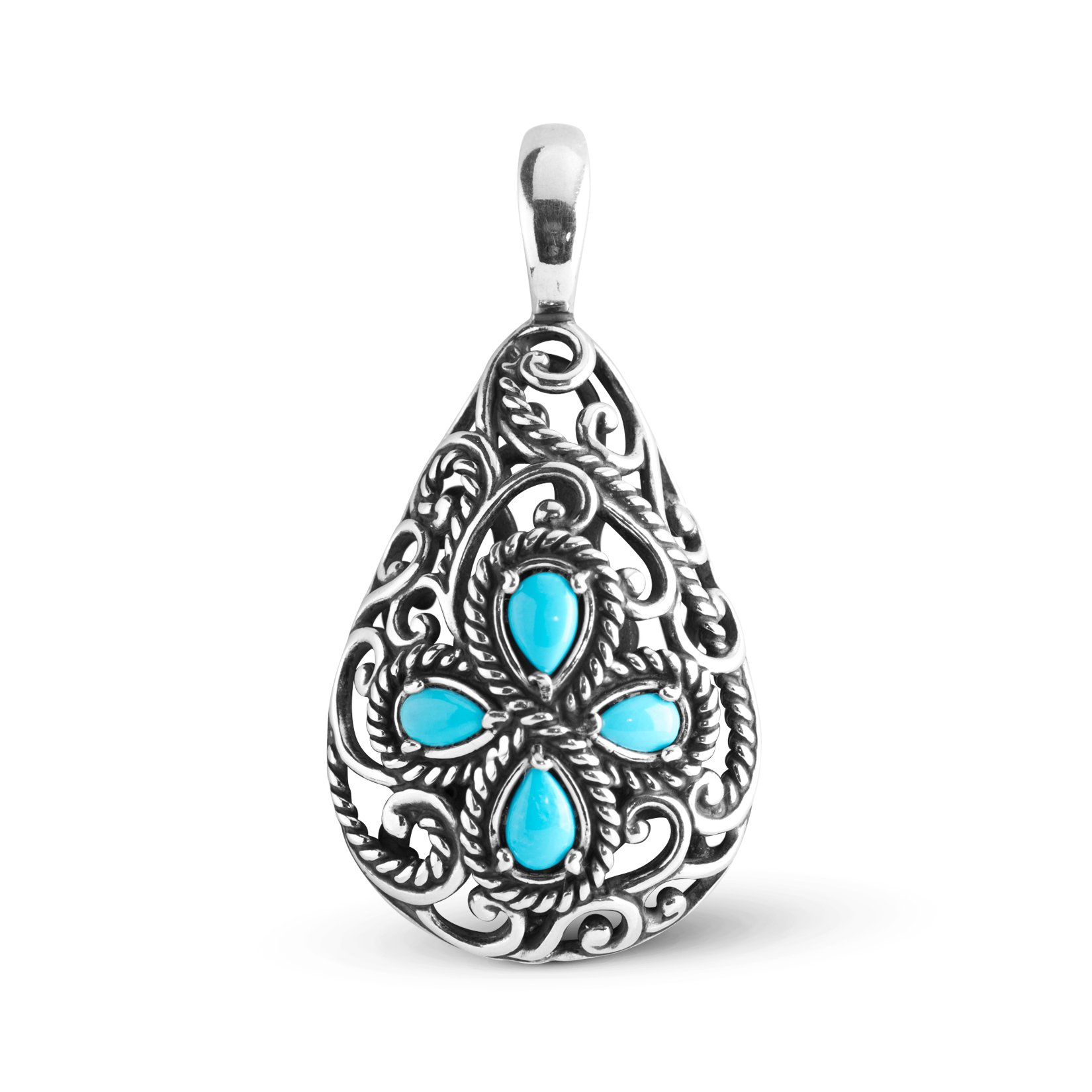 Carolyn Pollack Sterling Silver Sleeping Beauty Turquoise Pendant Enhancer by Carolyn Pollack
