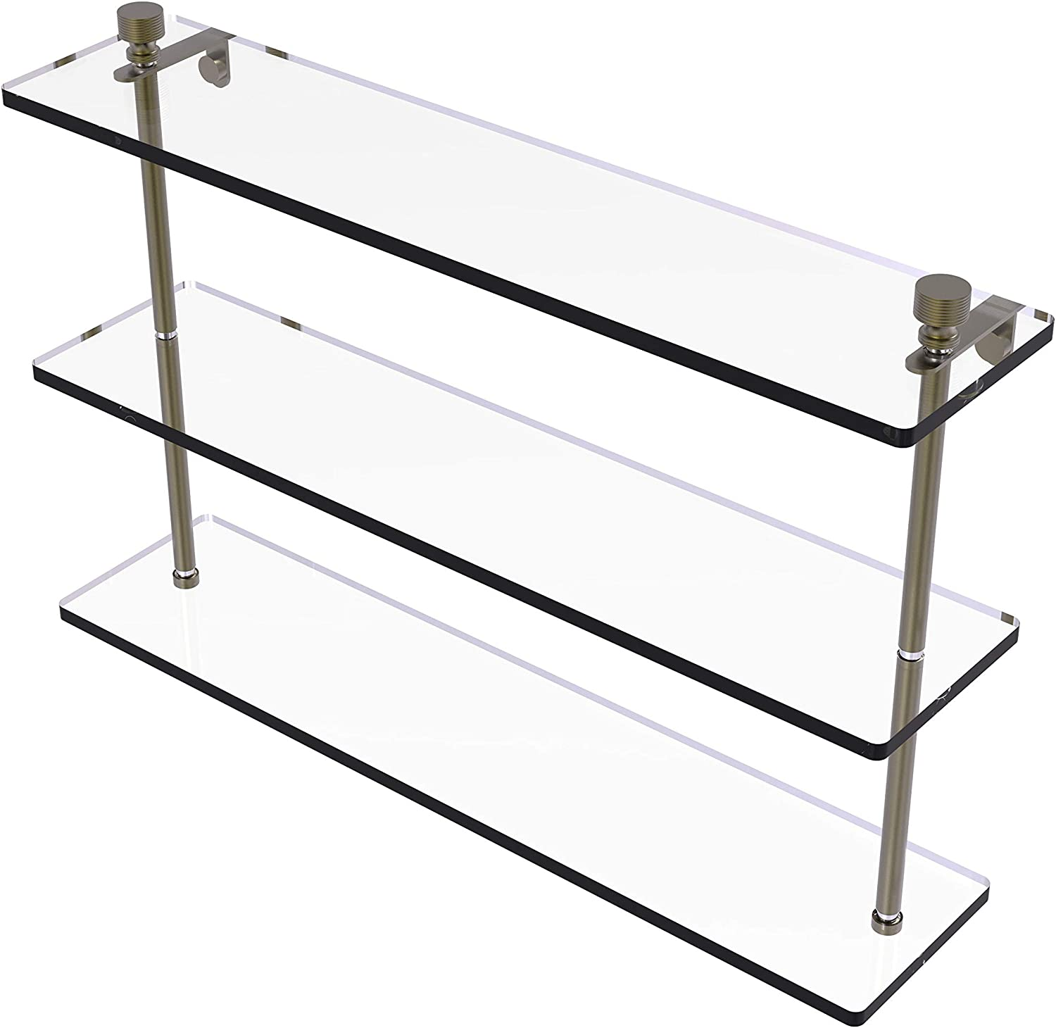Allied Brass FT-1//16TB-ABR Foxtrot 16 Inch Glass Vanity Shelf with Integrated Towel Bar Antique Brass