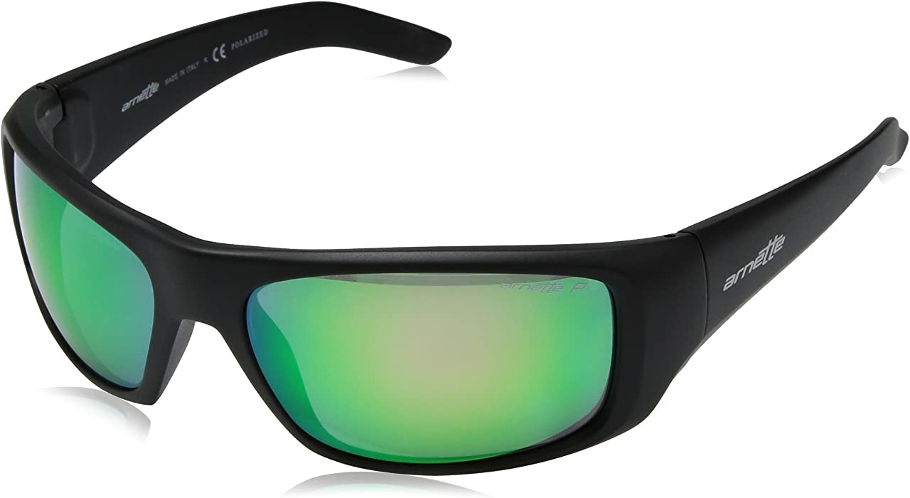 054da8213a Arnette Men s Hot Shot Polarized Iridium Rectangular Sunglasses MATTE BLACK  60 mm