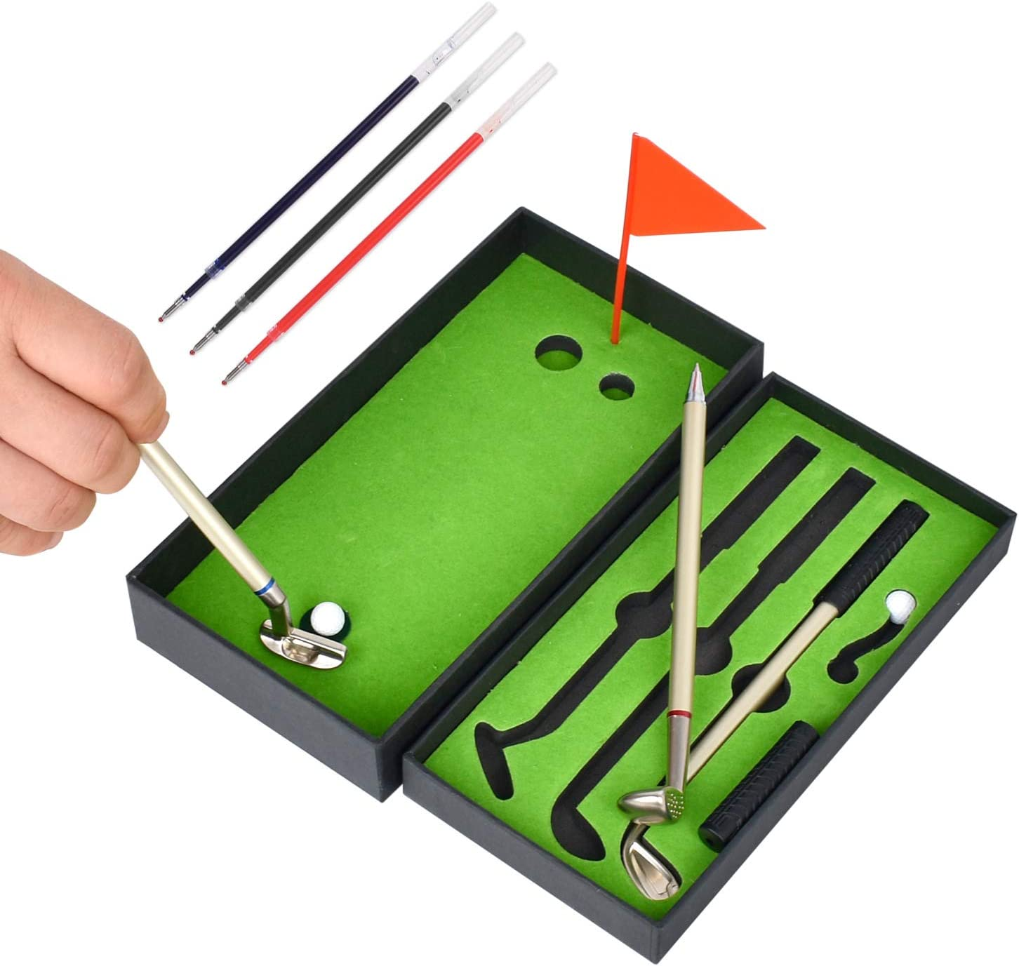 Mini Man Golf Game-Mini Golf Pen Set-Desktop Golf Pen Toy Set- Mini Desk Games-Funny Gifts for Adults Men Dad Husband - Unique Novelty Cute Cool Office Tabletop Sports Decor Accessories