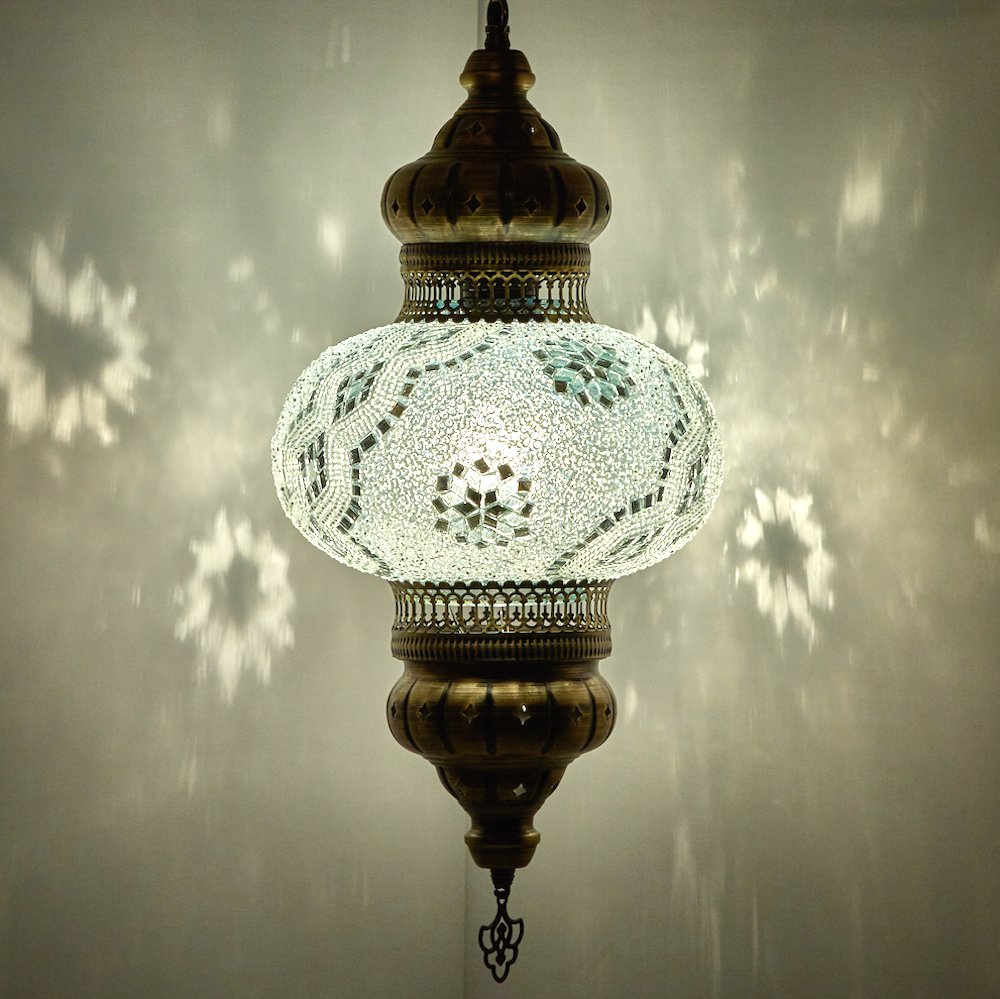(Choose from 12 Designs) Turkish Moroccan Mosaic Glass Chandelier Lights Hanging Ceiling Lamps (Large - 4) (Large-2) DEMMEX