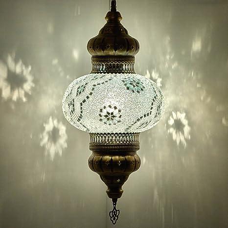 DEMMEX Turkish Moroccan Mosaic Plug in Swag Pendant Lamp Light ...