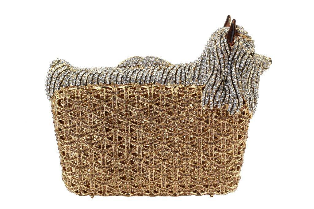 Yilongsheng Women's Dog Shaped Evening Clutch Purses with Shiny Basket Diamonds(Gold)