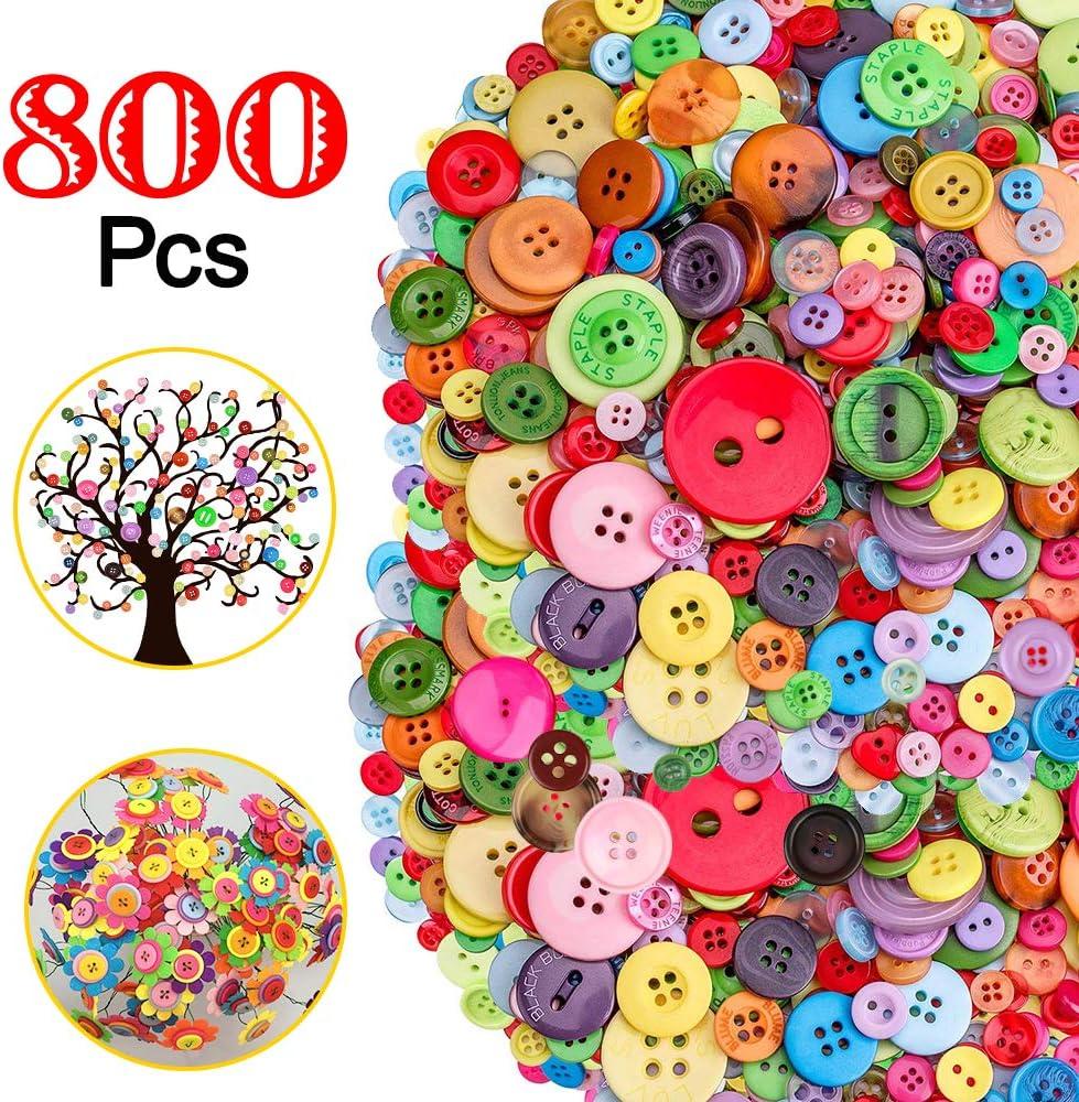 800 Piezas Botones de Colores Surtidos, Colores Mezclados Botones de Resina Redondo con 2/4 Agujero para manualidades de DIY Coser Artesanía Decoraciones Hechas a Mano de Bricolaje Tamaño mixto