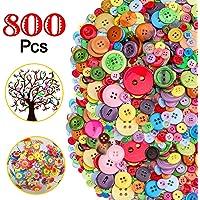 800 Piezas Botones de Colores Surtidos, Colores Mezclados