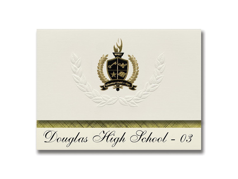 Signature Ankündigungen Douglas High School – 03 (Box Elder, SD) Graduation Ankündigungen, Presidential Stil, Elite Paket 25 Stück mit Gold & Schwarz Metallic Folie Dichtung