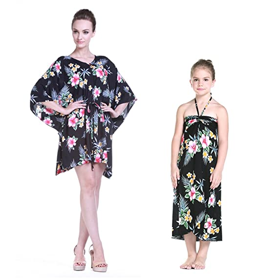 97ee6949549c Mother & Daughter Matching Hawaii Luau Poncho Girl Butterfly in Hibiscus  Black 2