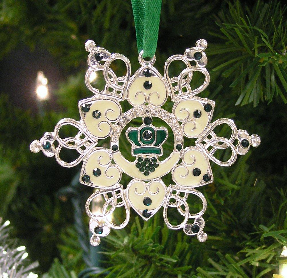 Irish Gift 7154 BANBERRY DESIGNS Irish Ornament Claddagh Ornament Irish Snowflake Ornament Filigree Metal and Jewels