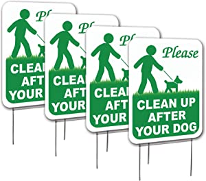 Visibility Signage Clean Up After Your Dog Lawn Signs with H-Stakes, Double Sided (4, 9x12)