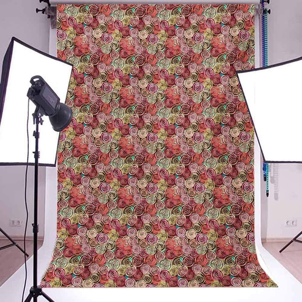 Abstract 8x10 FT Photo Backdrops,Floral Arrangement Vortex Shape Surreal Nature Scenes Rose Valentines Day Theme Background for Baby Birthday Party Wedding Vinyl Studio Props Photography Multicolor