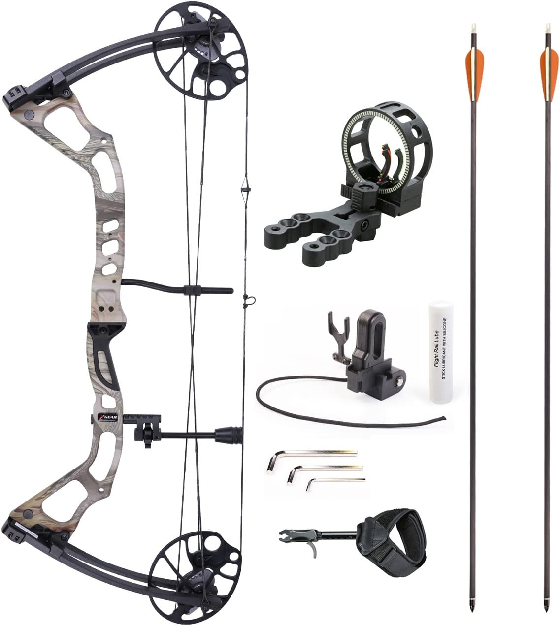 Leader Accessories Compound Bow 25-70lbs 19 – 31 Archery Hunting Equipment with Max Speed 300fps, Right Handed