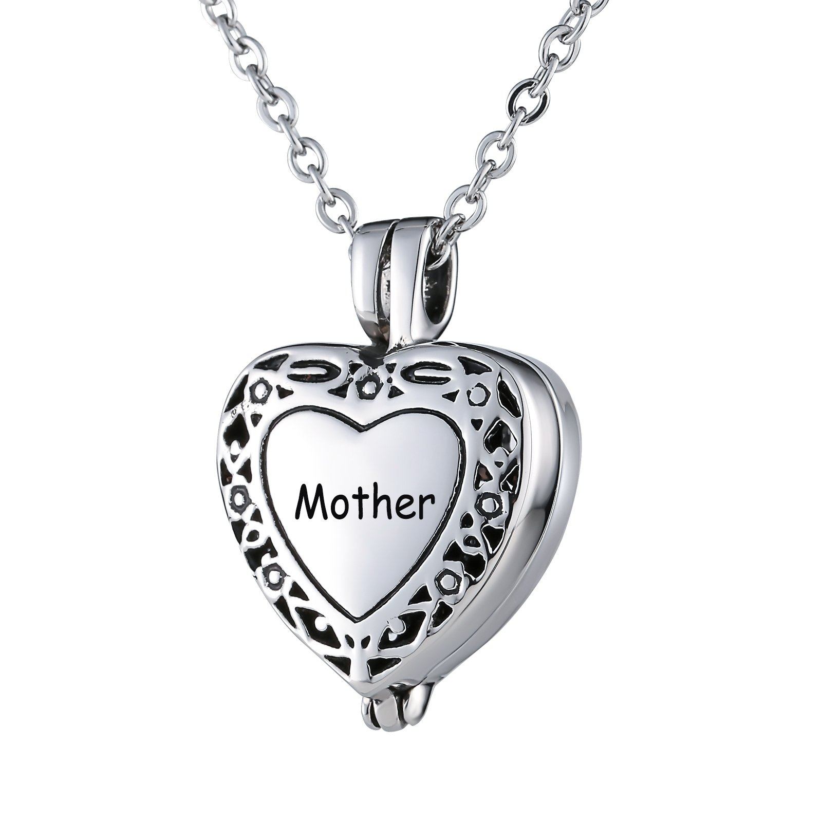 Beydodo Urns for Human Ashes for Mother Womens Stainless Steel Necklace With Pendant Filigree Heart