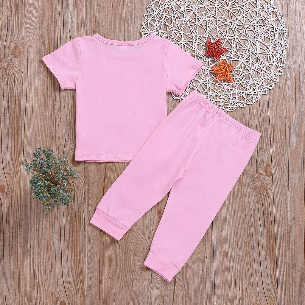 Toddler Girls Easter Rabbit Clothing Sets | Summer Outfits for Little Girls Pink Pajamas Set(Pink,110) by Wesracia (Image #3)