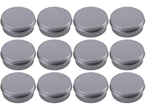 Hulless 2 oz Aluminum Tin Jar 60 ml Refillable Containers Cosmetic Small Tin Aluminum Screw Lid Round Tin Container Bottle for Candle, Lip Balm, Salve, Eye Shadow, Powder, Small Ounce 12 Pack.