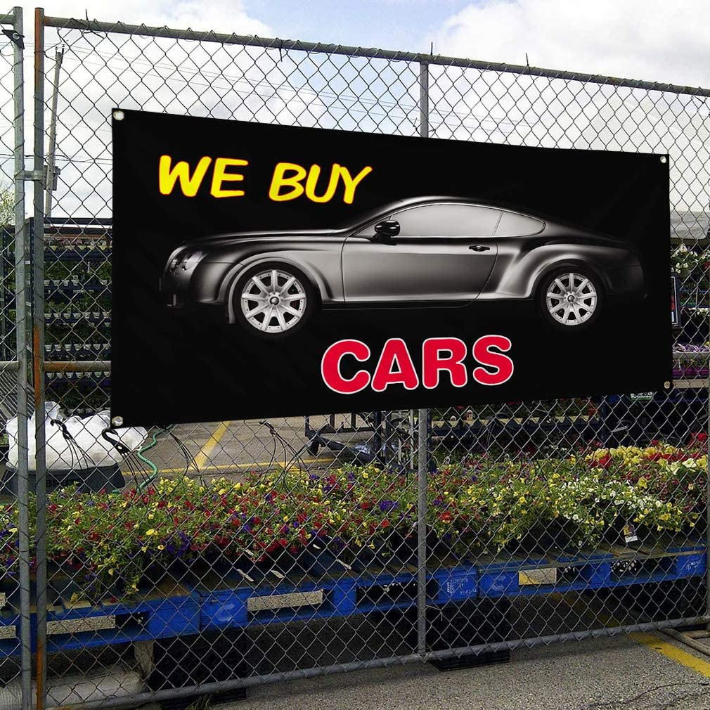 Vinyl Banner Multiple Sizes We Buy Cars Outdoor Advertising Printing B Automotive Outdoor Weatherproof Industrial Yard Signs Black 10 Grommets 60x144Inches